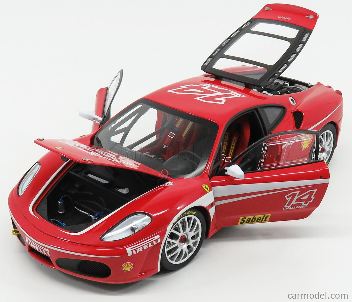 MATTEL HOT WHEELS J2923-0510 Scale 1/18  FERRARI F430 CHALLENGE N 14 RACING 2005 RED WHITE