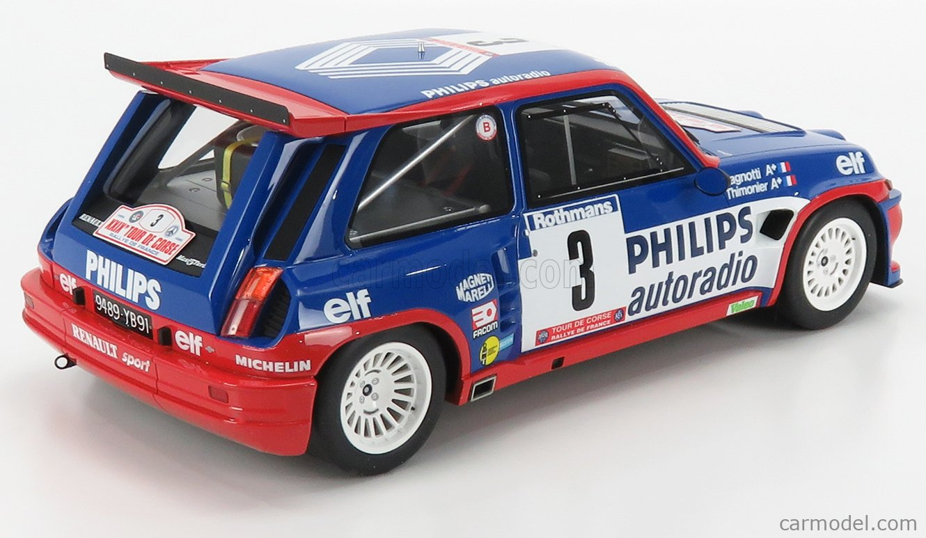 OTTO-MOBILE G050 Scale 1/12  RENAULT R5 MAXI TURBO PHILIPS N 3 RALLY TOUR DE CORSE 1985 J.RAGNOTTI - P.THIMONIER BLUE RED