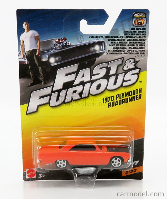 MATTEL HOT WHEELS FCF60-965B-FCF78 Scale 1/64  PLYMOUTH DOM'S CHARGER ROAD RUNNER 1970 - FAST & FURIOUS 7 2015 ORANGE BLACK