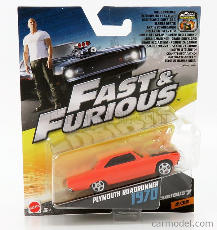 MATTEL HOT WHEELS FCF60-965A-FCF37 Scale 1/64  PLYMOUTH DOM'S CHARGER ROAD RUNNER 1970 - FAST & FURIOUS 7 2015 ORANGE BLACK