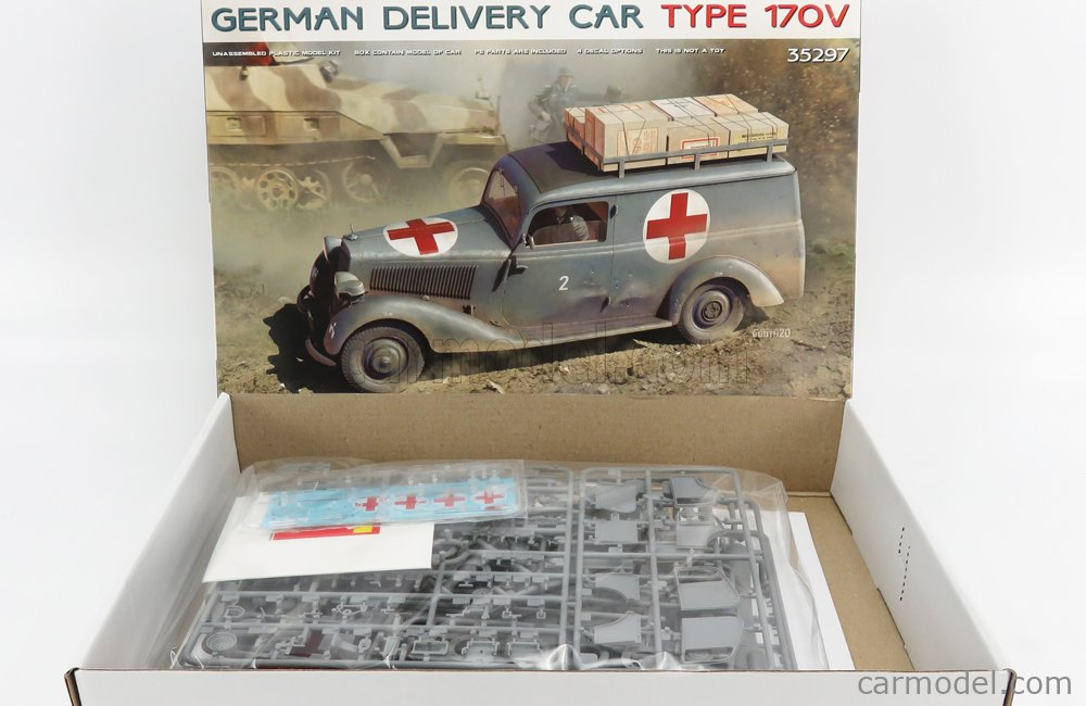 MINIART 35297 Scale 1/35  MERCEDES BENZ TYPE 170V VAN MILITARY AMBULANCE 1935 - GERMAN DELIVERY CAR /