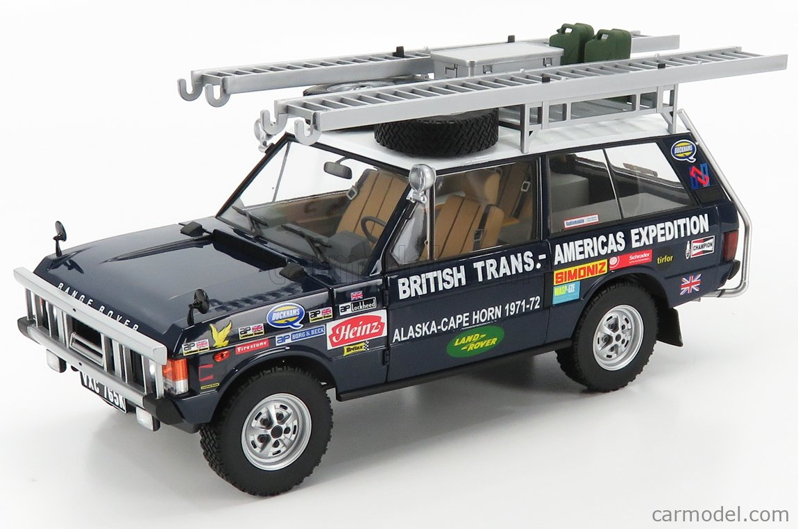 ALMOST-REAL ALM810109 Scale 1/18  LAND ROVER TARGA ID.PLATE 765K - RANGE ROVER N 0 RALLY BRITISH TRANS AMERICAS EXPEDITION EDITION ALASKA-CAPE HORN 1971-1972 BLUE