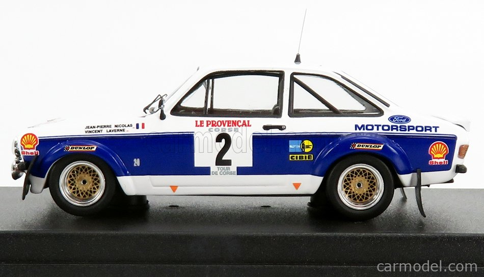 TROFEU TRRFR16 Scale 1/43  FORD ENGLAND ESCORT MKII N 2 RALLY TOUR DE CORSE 1977 J.P.NICOLAS - V.LAVERNE WHITE BLUE