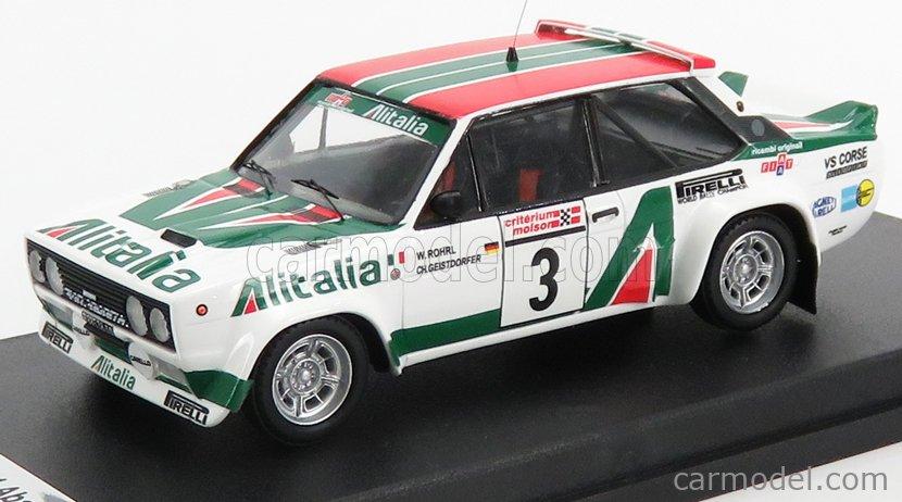 TROFEU TRRCA02 Echelle 1/43  FIAT 131 ABATRTH ALITALIA N 3 WINNER RALLY CRITERIUM DE QUEBEC 1978 W.ROHRL - C.GEISTDORFER WHITE GREEN RED