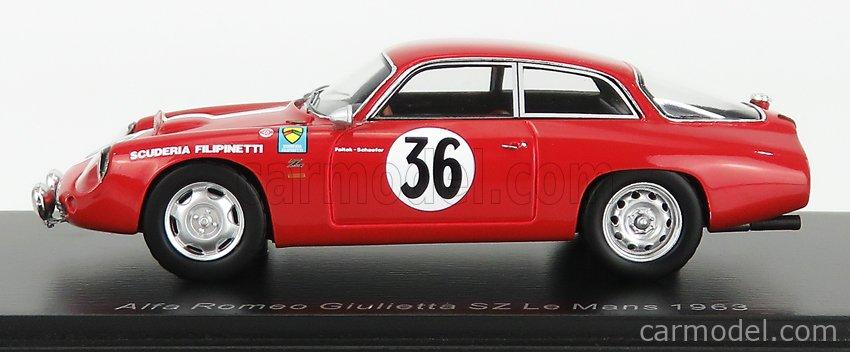 SPARK-MODEL S9054 Масштаб 1/43  ALFA ROMEO GIULIETTA GZ TEAM SCUDERIA FILIPINETTI N 36 24h LE MANS 1963 K.FOITEK - A.SCHAFER RED