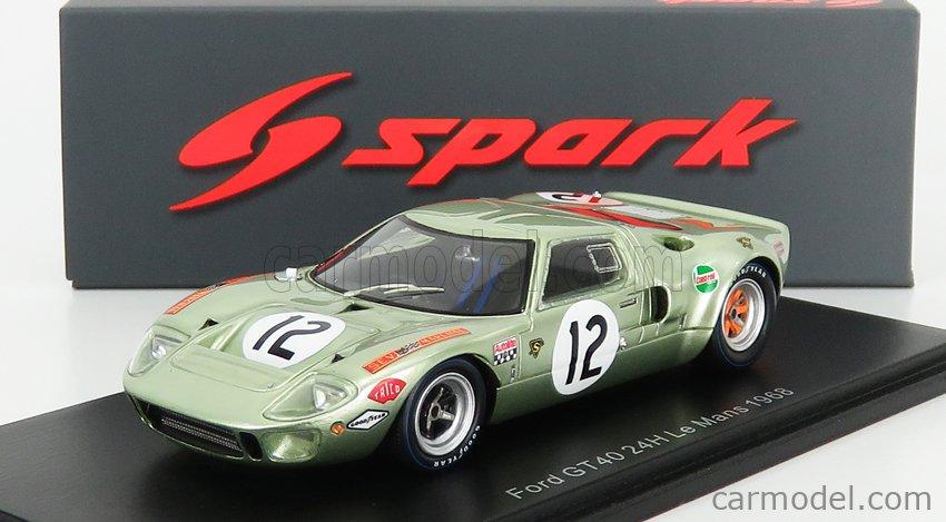 SPARK-MODEL S4539 Масштаб 1/43  FORD USA GT40 4.7L V8 TEAM STRATHAVEN LTD N 12 24h LE MANS 1968 P.SALMON - E.LIDDEL LIGHT GREEN