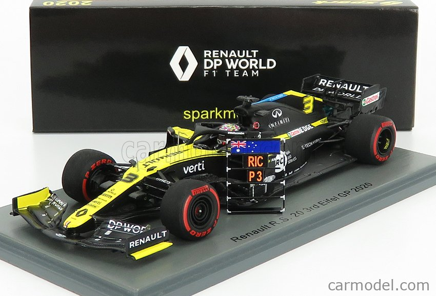 SPARK-MODEL S6484 Масштаб 1/43  RENAULT F1  R.S.20 TEAM RENAULT DP WORLD N 3 3rd NURBURGRING EIFEL GP 2020 D.RICCIARDO BLACK YELLOW
