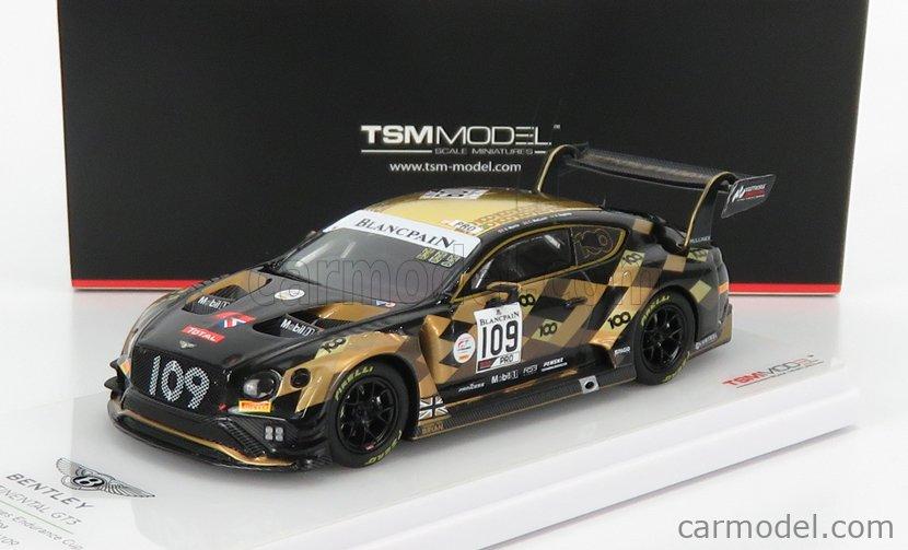 TRUESCALE TSM430491 Masstab: 1/43  BENTLEY CONTINENTAL GT3 4.0L VOLKSWAGEN TWIN-TURBO V8 TEAM TOTAL M-SPORT N 109 24h SPA 2019 S.MORRIS - C.MACLOED - R.BAPTISTA BLACK GOLD