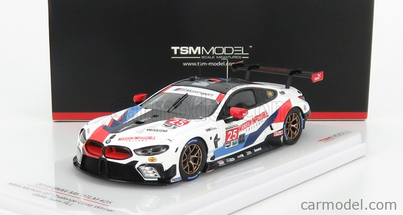 TRUESCALE TSM430442 Masstab: 1/43  BMW 8-SERIES M8 GTE 4.0L TURBO V8 TEAM RLL N 25 WINNER CLASS IMSA MICHELIN GT CHALLENGE 2018 - MISSION IMPOSSIBLE FALL OUT LIVERY - SIMS - DE PHILLIPPI WHITE BLACK RED BLUE