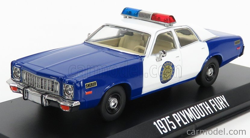 GREENLIGHT 86602 Scale 1/43  PLYMOUTH FURY POLICE OSAGE COUNTY SHERIFF 1975 BLUE WHITE