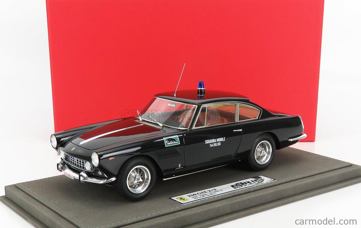 BBR-MODELS BBR1850POL-VET Echelle 1/18  FERRARI 250 GTE 2+2 1-SERIES 1962 POLIZIA SQUADRA MOBILE MARESCIALLO SPATAFORA - CON VETRINA - WITH SHOWCASE BLACK