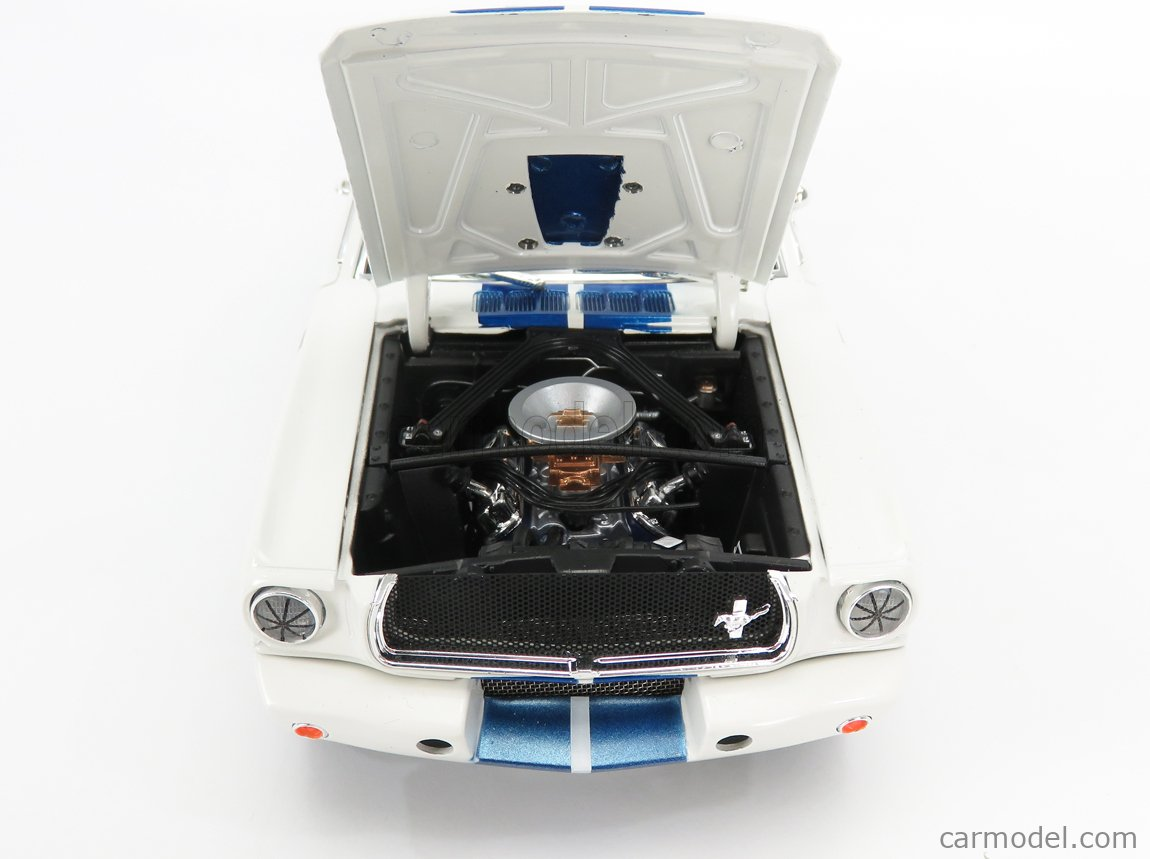 SHELBY-COLLECTIBLES SHELBY170 Scale 1/18  FORD USA MUSTANG SHELBY GT 350R TEAM TERLINGUA RACING N 98b SEASON 1965 K.MILES WHITE BLUE MET