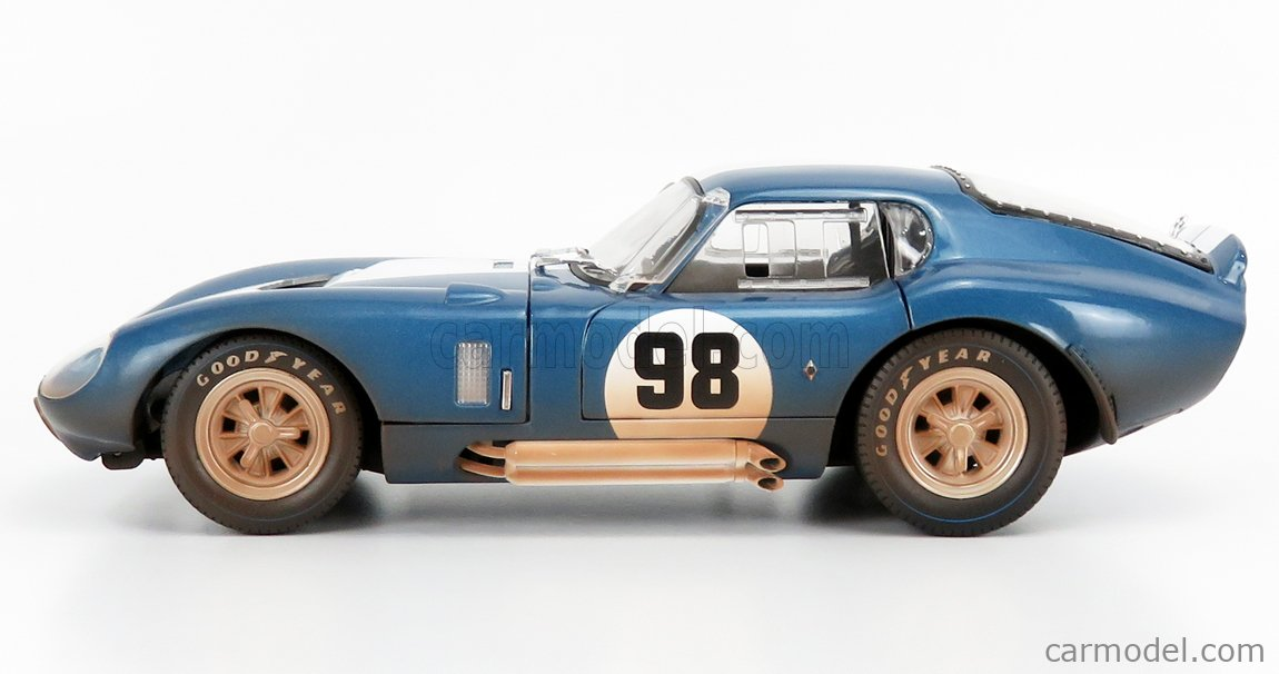 SHELBY-COLLECTIBLES SHELBY133 Echelle 1/18  AC COBRA SHELBY COBRA DAYTONA COUPE N 98 DIRTY VERSION 1965 BLUE MET WHITE