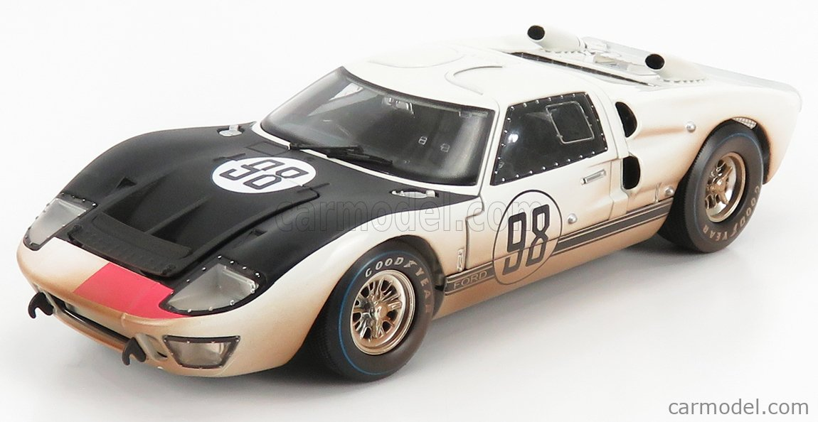 SHELBY-COLLECTIBLES SHELBY432 Scale 1/18  FORD USA GT40 MKII 7.0L V8 TEAM SHELBY AMERICAN INC. N 1 DIRTY VERSION N 98 WINNER 24h DAYOTNA 1966 K.MILES - L.RUBY WHITE BLACK