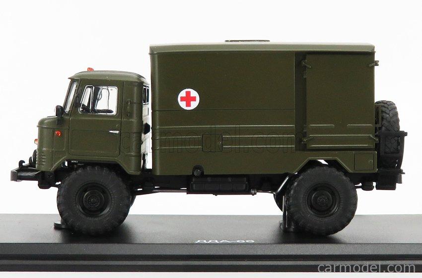 START SCALE MODELS SSMMP0079 Scale 1/43  GAZ 66 T3-2 TRUCK AMBULANCE TELONATO 1968 MILITARY GREEN