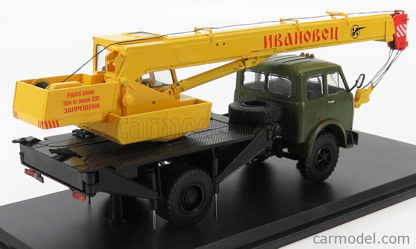 START SCALE MODELS SSM1414 Scale 1/43  MAZ 500A KC-3577 TRUCK 2-ASSI CRANE - GRU 1958 NILITARY GREEN YELLOW