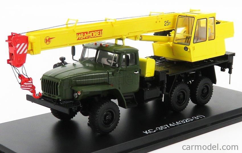 START SCALE MODELS SSM1411 Scale 1/43  STUDEBAKER KC-3574 (4320-31) TRUCK 3-ASSI CRANE - GRU 1942 NILITARY GREEN YELLOW