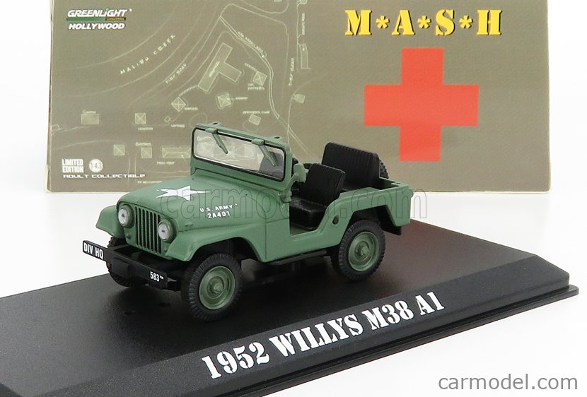 GREENLIGHT 86590 Masstab: 1/43  JEEP WILLYS M38 A1 1952 M-A-S-H MILITARY GREEN