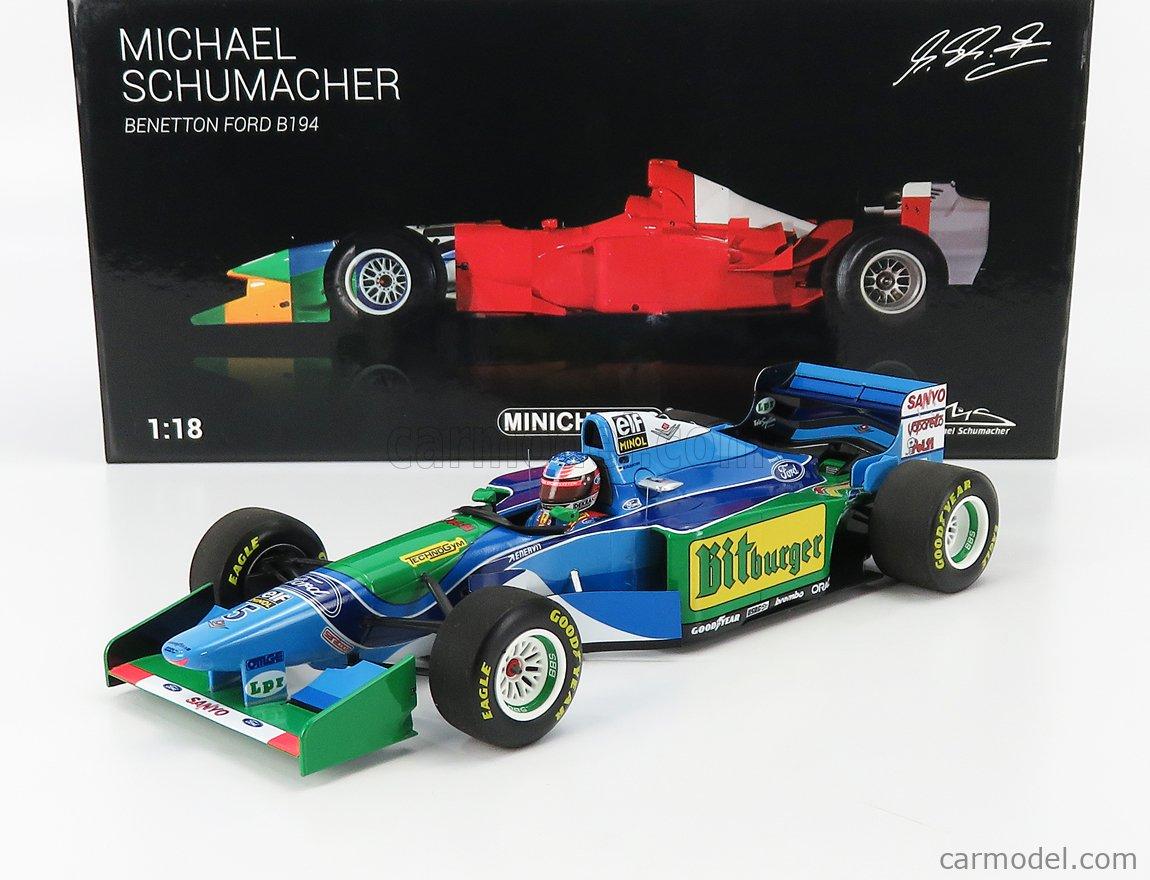 MINICHAMPS 113941605 Scale 1/18  BENETTON F1  B194 FORD MILD SEVEN N 5 MICHAEL SCHUMACHER SEASON 1994 WORLD CHAMPION BLUE GREEN