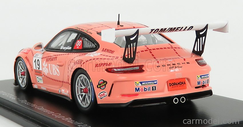 SPARK-MODEL S8503 Scale 1/43  PORSCHE 911 991 GT3 CUP N 19 PORSCHE CARRERA CUP BRAZIL 2018 T.FILHO - R.MELLO PINK