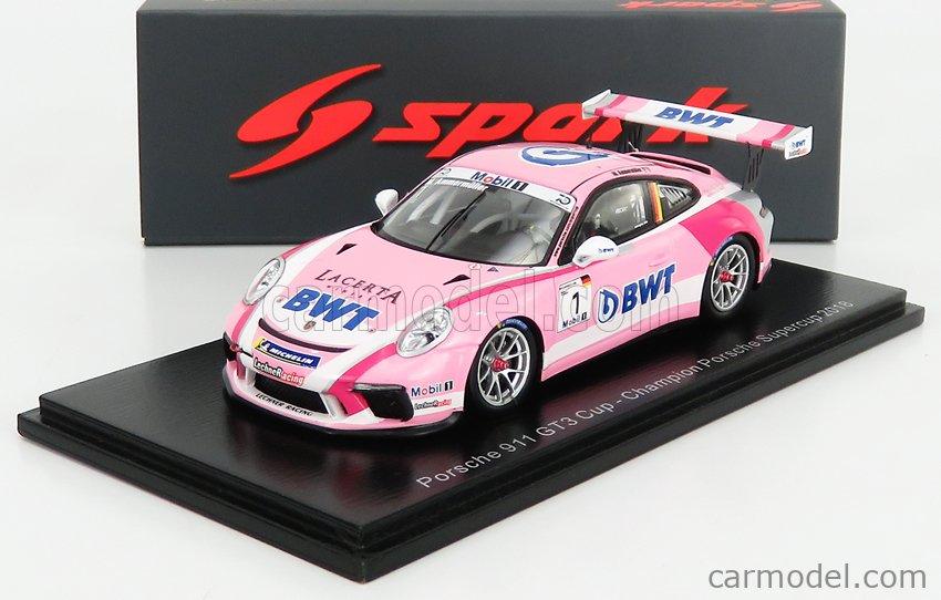 SPARK-MODEL S8500 Scale 1/43  PORSCHE 911 991 GT3 CUP N 1 CHAMPION PORSCHE SUPERCUP 2018 M.AMMERMULLER PINK WHITE RED