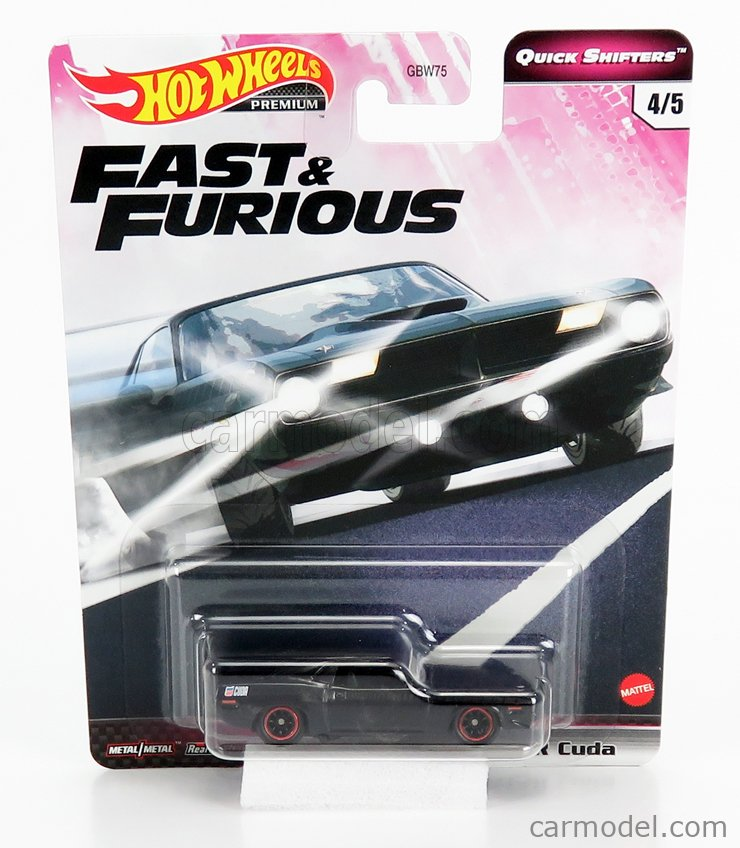 MATTEL HOT WHEELS GBW75-956J-GJR82 Scale 1/64  PLYMOUTH LETTY'S BARRACUDA 440 COUPE 1970 - FAST & FURIOUS 7 - 2015 BLACK GREY