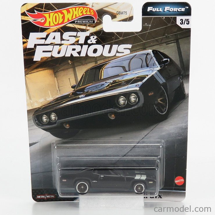 MATTEL HOT WHEELS GBW75-979H-GJR42 Scale 1/64  PLYMOUTH DOM'S GTX COUPE 1971 - FAST & FURIOUS 8 2017 BLACK SILVER