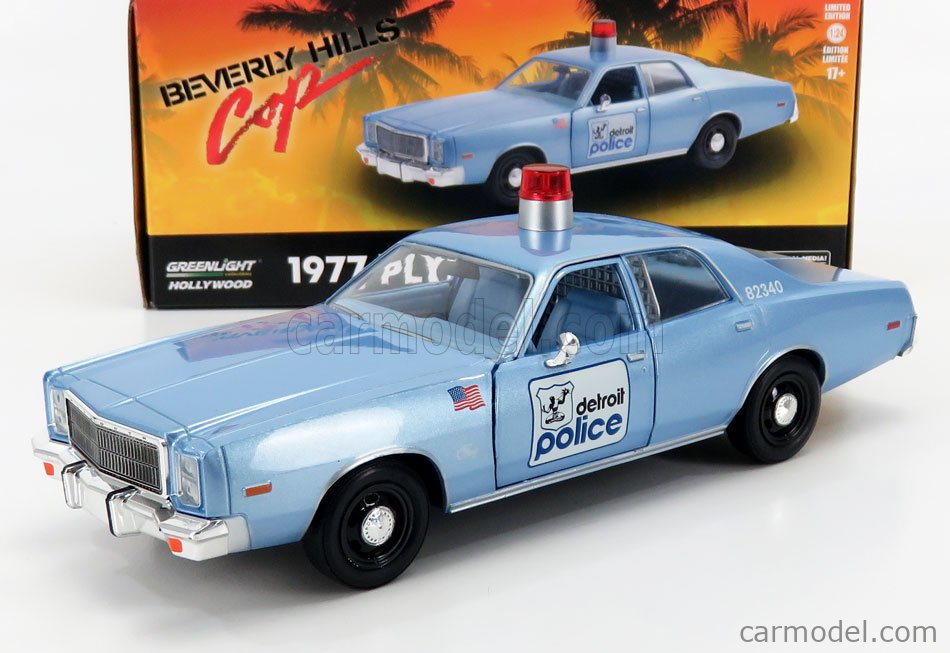 GREENLIGHT 84122 Scale 1/24  PLYMOUTH FURY HAZZARD DETROIT POLICE 1977 - BEVERLY HILLS COP LIGHT BLUE MET
