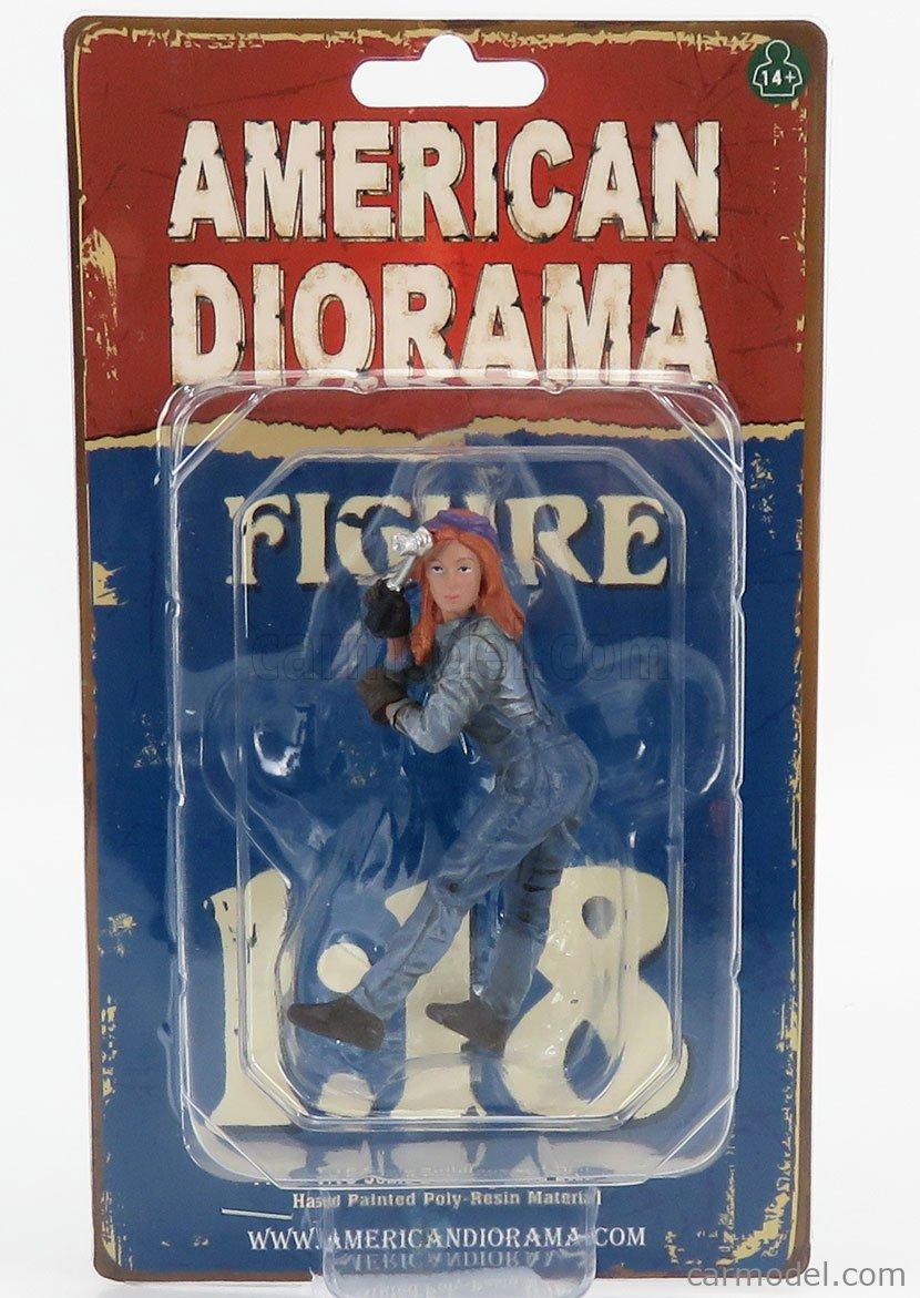 AMERICAN DIORAMA 38244 Echelle 1/18  FIGURES WOMAN MECHANIC - DONNA MECCANICO - I BLUE