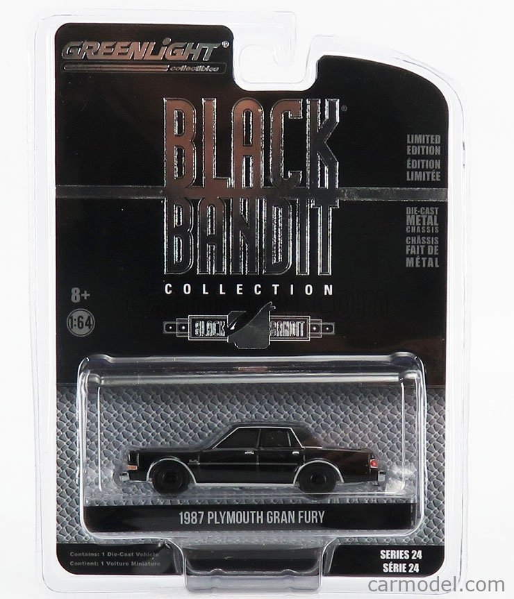 GREENLIGHT 28050C Scale 1/64  PLYMOUTH GRAN FURY 1987 - BLACK BANDIT BLACK
