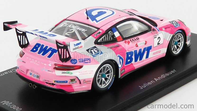SPARK-MODEL SG428 Echelle 1/43  PORSCHE 911 991-2 GT3 CUP N 2 CARRERA CUP GERMAN CHAMPION 2019 J.ANDLAUER PINK