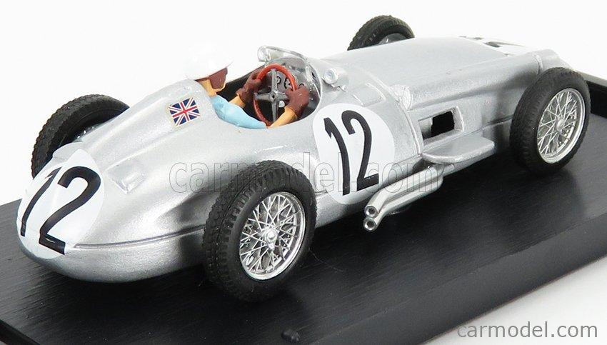 BRUMM R072C-CH-UPD-2021 Echelle 1/43  MERCEDES BENZ F1 W196 N 12 WINNER BRITISH GP 1955 S.MOSS - 1st F1 VICTORY - WITH DRIVER FIGURE SILVER