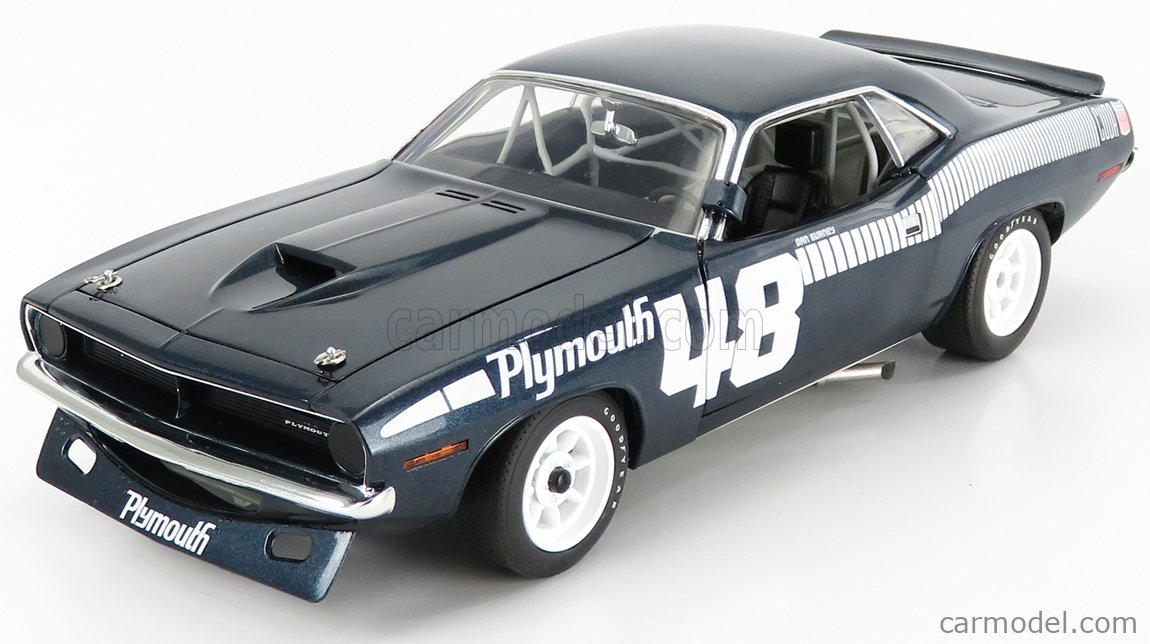 ACME-MODELS A1806119 Scale 1/18  PLYMOUTH BARRACUDA N 48 COUPE 1970 D.GURNEY BLUE WHITE