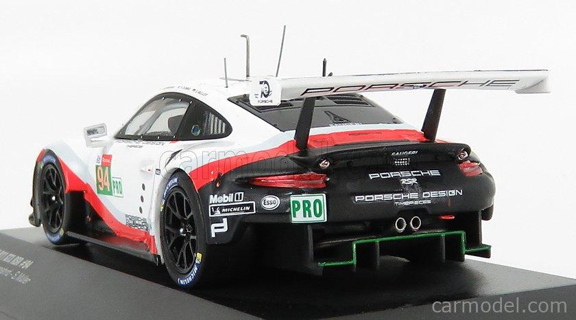 IXO-MODELS LE43023 Scale 1/43  PORSCHE 911 991 RSR PORSCHE GT TEAM N 94 24h LE MANS 2018 R.DUMAS - T.BERNHARD - S.MULLER WHITE BLACK RED