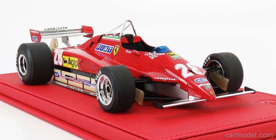 BBR-MODELS P1894AV-VET Scale 1/18  FERRARI F1  126 C2 N 28 WINNER SAN MARINO GP 1982 D.PIRONI - CON VETRINA - WHIT SHOWCASE RED