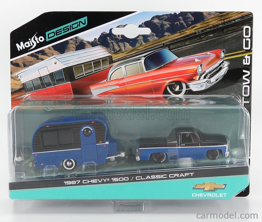 MAISTO 15368-08094-18744 Scale 1/64  CHEVROLET 1500 PICK-UP WITH TRAILER ROULOTTE 1987 BLUE BLACK