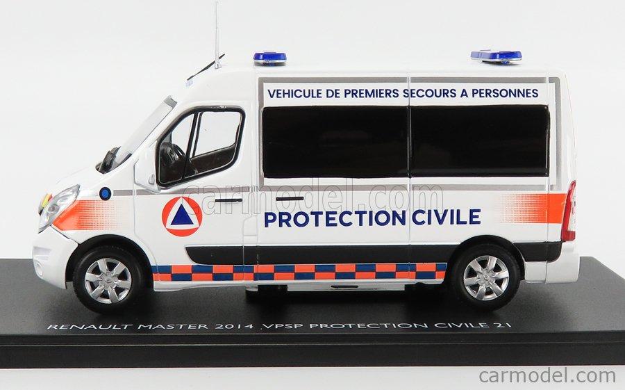 ELIGOR 116798 Scale 1/43  RENAULT MASTER VAN AMBULANCE PROTECTION CIVILE VEHICULE DE PREMIERS SECOURS A PERSONNE VPSP 2014 WHITE ORANGE BLUE