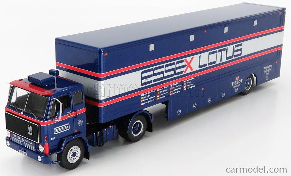 IXO-MODELS TTR021 Scale 1/43  VOLVO F88 TRUCK TEAM ESSEX LOTUS F1 CAR TRANSPORTER 1981 BLUE SILVER RED