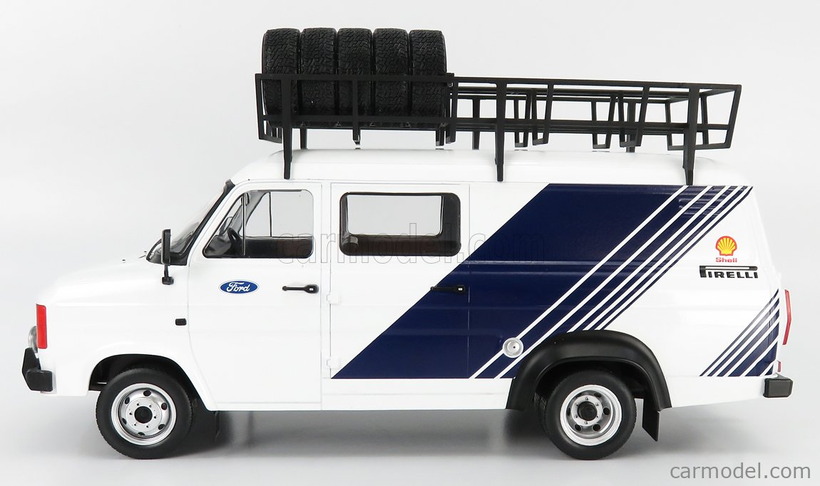 IXO-MODELS 18RMC058XE Scale 1/18  FORD ENGLAND TRANSIT MKII VAN TEAM FORD RALLY ASSISTANCE WITH ACCESSORIES 1979 WHITE BLUE