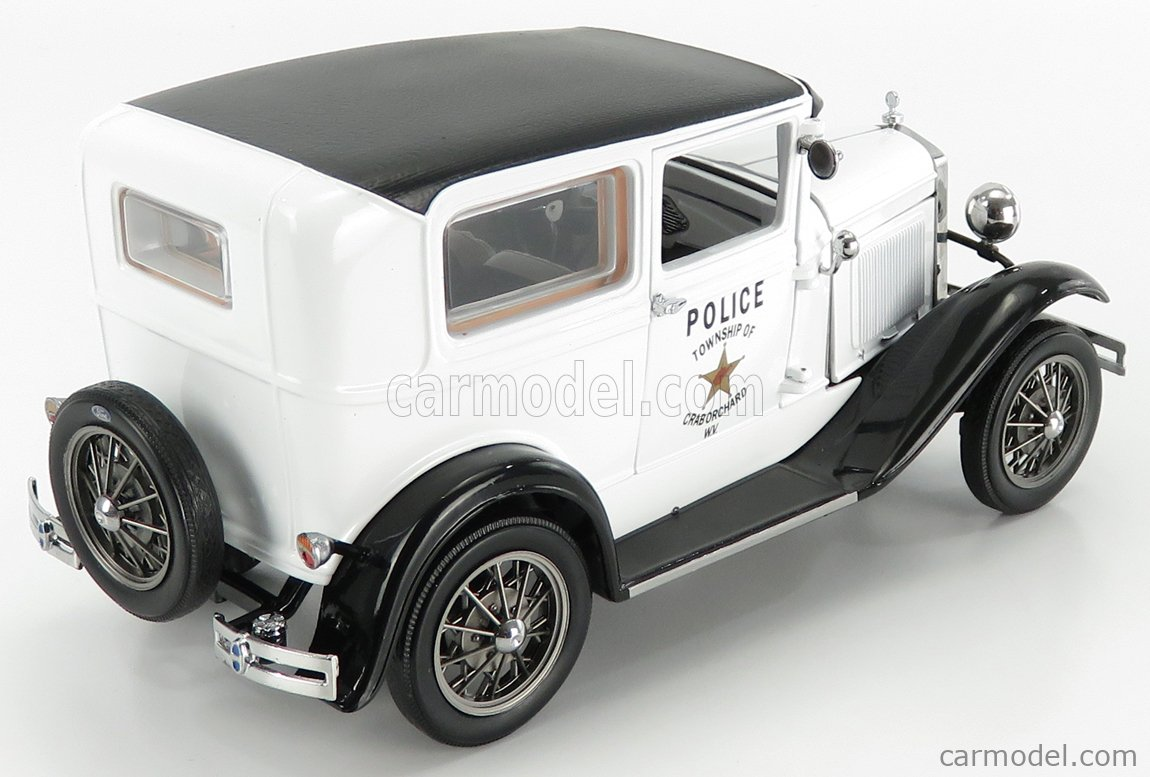 SUN-STAR 06108 Scale 1/18  FORD USA MODEL-A TUDOR POLICE TOWNSHIP OF CRAB ORCHARD W.V. 1931 WHITE BLACK