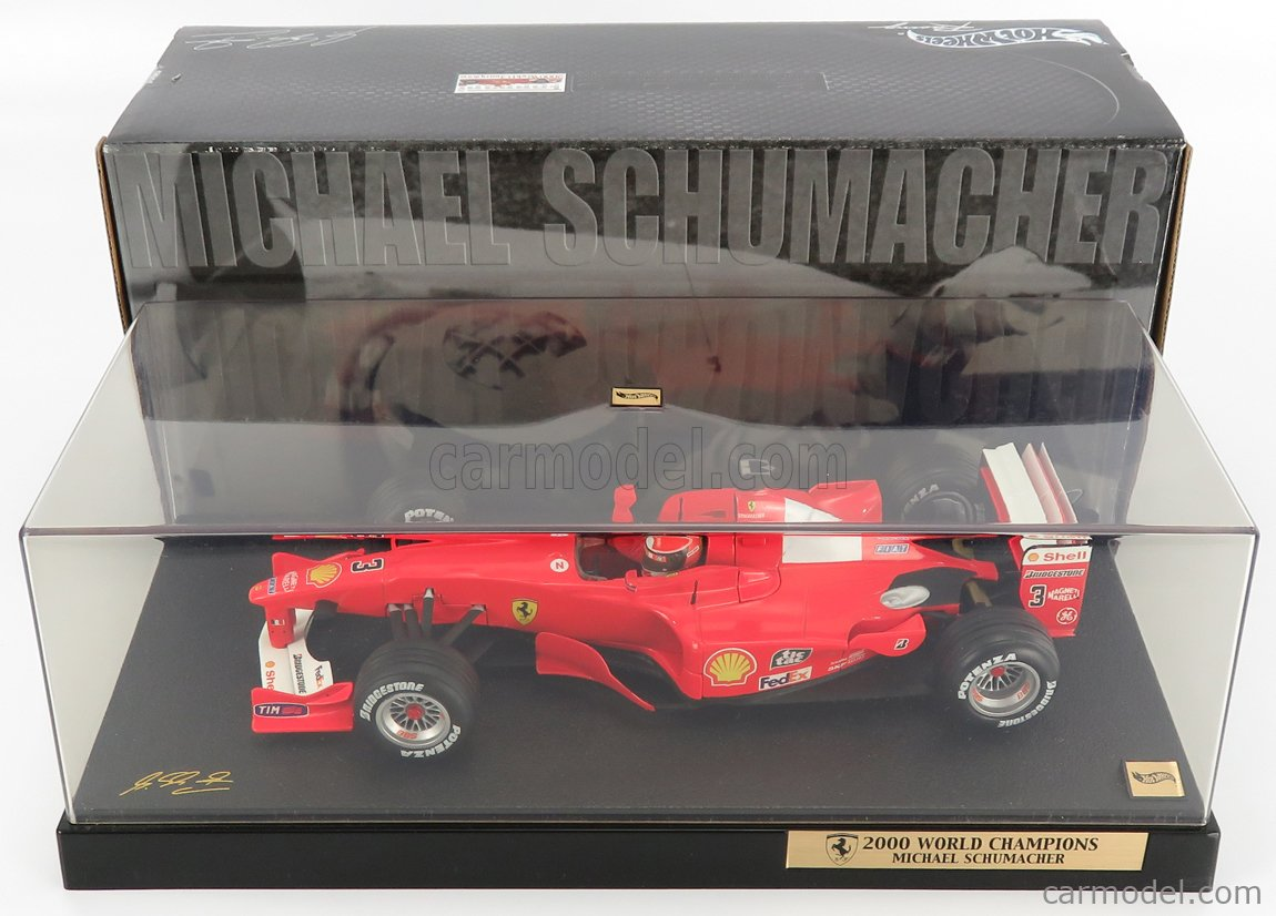 MATTEL HOT WHEELS 50930 Scale 1/18  FERRARI F1  F2000 N 3 MICHAEL SCHUMACHER SEASON 2000 WORLD CHAMPION - CON VETRINA - WITH SHOWCASE RED