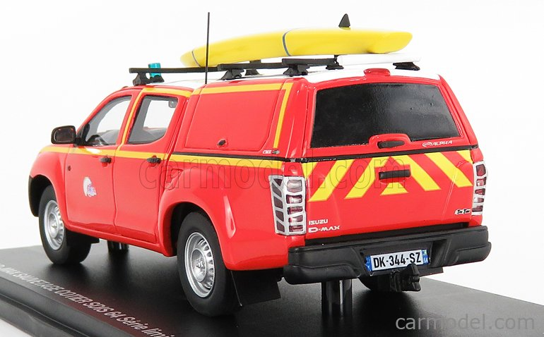ALARME ALARME0030 Масштаб 1/43  ISUZU D-MAX PICK-UP DOUBLE CABINE CLOSED SAUVETAGE COTIER SDIS 64 SAPEURS POMPIERS 2017 RED WHITE