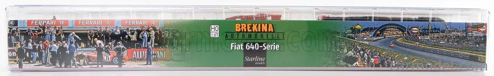 BREKINA PLAST BRE58475 Scale 1/87  FIAT 640 TRUCK FERRARI CAR TRANSPORTER 1956 - WITH 2 X FERRARI F1 156 1961 + FIGURES RED
