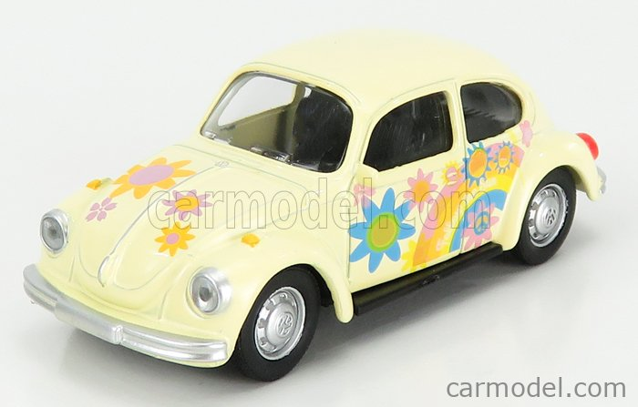 NOREV 310518 Scale 1/64  VOLKSWAGEN BEETLE 1303 PEACE AND LOVE 1973 YELLOW