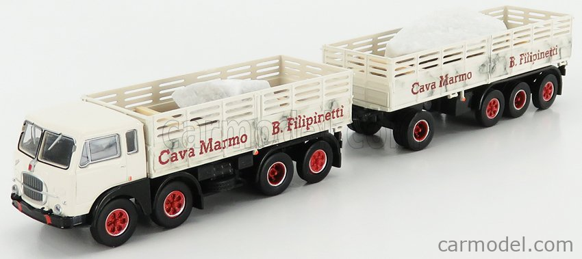BREKINA PLAST BRE58414 Echelle 1/87  FIAT 690 TRUCK MILLEPIEDI 4-ASSI CAVA MARMO FILIPINETTI 1961 WHITE BLACK