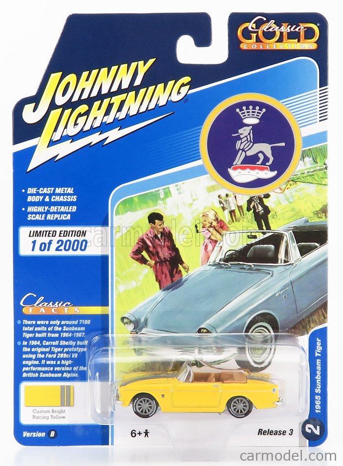 JOHNNY LIGHTNING JLCG023B-2 Scale 1/64  SUNBEAM TIGER SPIDER 1965 YELLOW
