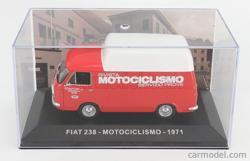 EDICOLA VCDE021 Echelle 1/43  FIAT 238 VAN TETTO ALTO HIGH ROOF MOTOCICLISMO 1971 RED WHITE