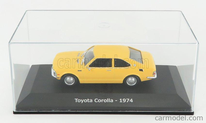 EDICOLA ABADD105 Scale 1/43  TOYOTA COROLLA 1974 - CON VETRINA - WITH SHOWCASE YELLOW