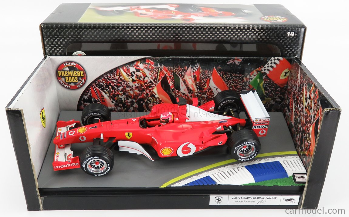 MATTEL HOT WHEELS B7021 Scale 1/18  FERRARI F1  F2002 N 1 MICHAEL SCHUMACHER SEASON 2002 WORLD CHAMPION RED WHITE