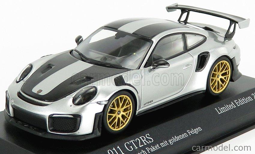 Minichamps 413067231 Scale 1 43 Porsche 911 991 2 Gt2 Rs Weissach Package 2018 Silver Black
